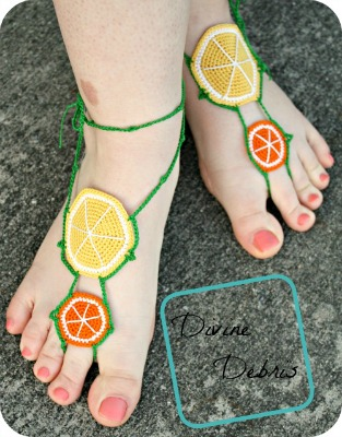 Citrus Barefoot Sandals Pattern by Divine Debris