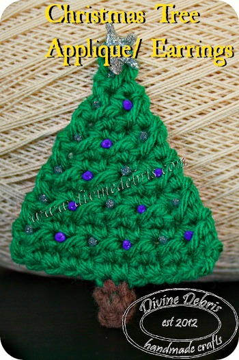 Christmas Tree Applique/ Earrings by DivineDebris.com