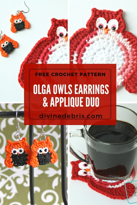 Olga Owls Earrings & Applique Duo free pattern by DivineDebris.com