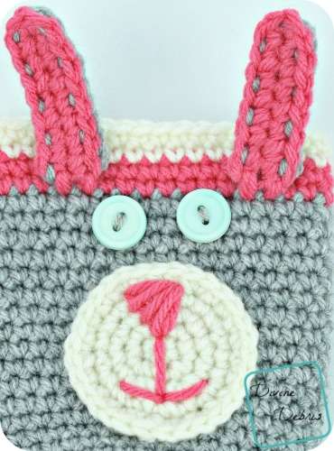Bunny Bottle/ Can Cozy free crochet pattern by DivineDebris.com