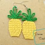 Free Pineapple Applique/ earring combo crochet pattern by DivineDebris.com