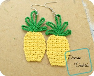 Free Pineapple Applique/ earring combo crochet pattern by DivineDebris.com
