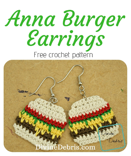 Anna Burger Earrings free crochet pattern by DivineDebris.com #crochet #jewelry #earrings #burgers #crochetpattern #freecrochetpattern #food