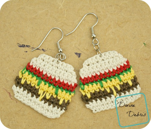 Anna Burger Earrings, a free crochet earring pattern by DivineDebris.com