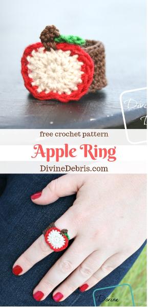 Apple Ring free crochet pattern by DivineDebris.com #crochet #freepattern #rings #jewelry #crochetthread