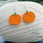 Pumpkin Earrings free crochet pattern by DivineDebris.com