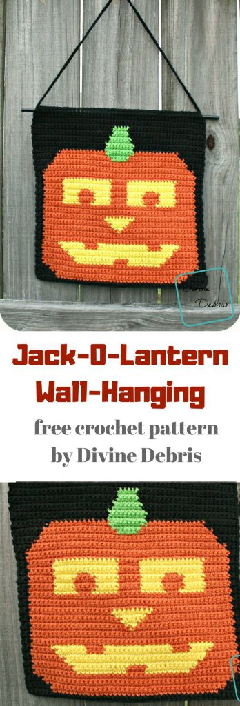 Jack-o-lantern Wall Hanging free crochet pattern by DivineDebris.com