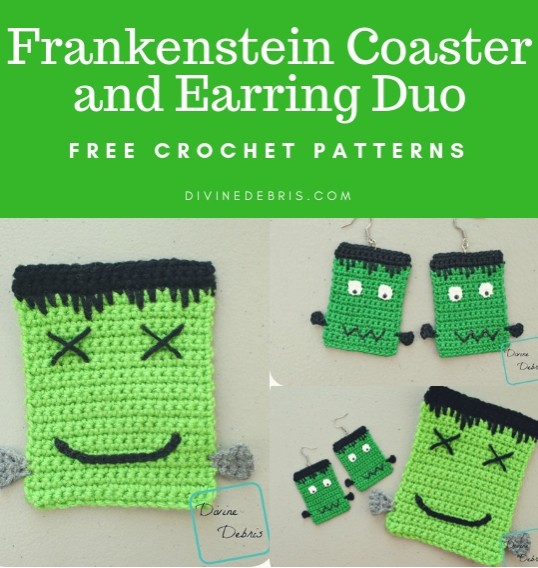 Frankenstein Coaster and Earring Duo free crochet patterns by DivineDebris.com