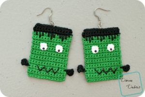 Frankenstein Earrings and Applique free crochet patterns by DivineDebris.com