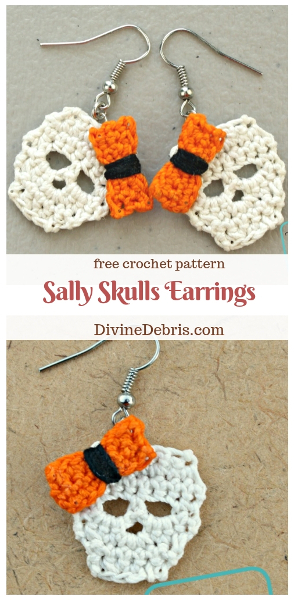 Sally Skulls Earrings free crochet pattern by DivineDebris.com #crochet #earrings #freepattern #skulls #crochetthread