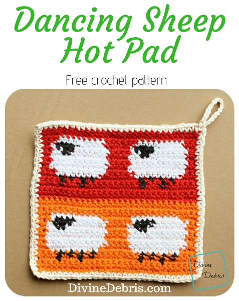 Dancing Sheep Pot Holder free pattern by DivineDebris.com #crochet #freepattern #tapestry #sheep #potholder