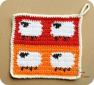 Dancing Sheep Potholder free crochet pattern by DivineDebris.com