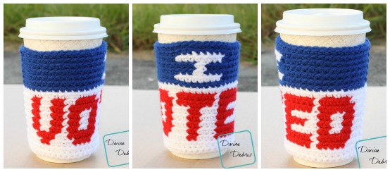 I Voted Mug Cozy free crochet pattern by DivineDebris.com