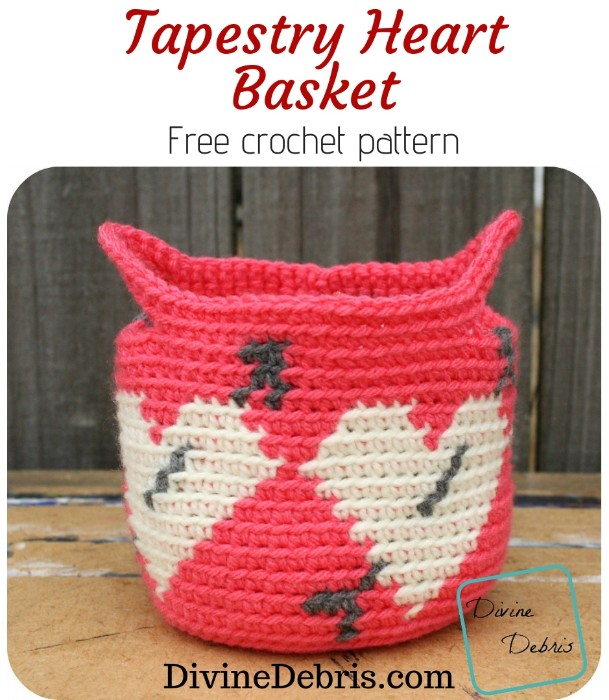 Tapestry Heart Basket free crochet pattern by DivineDebris.com