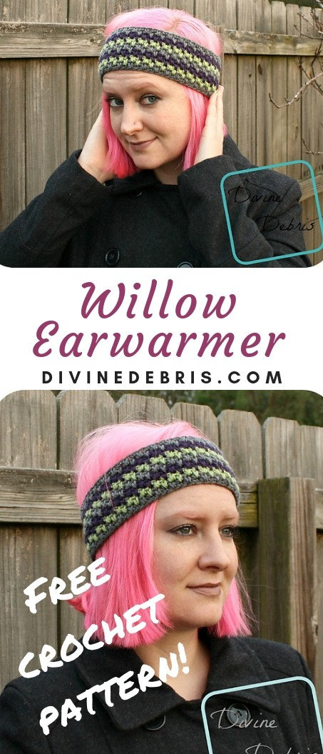 Willow Earwarmer free crochet pattern by DivineDebrs.com