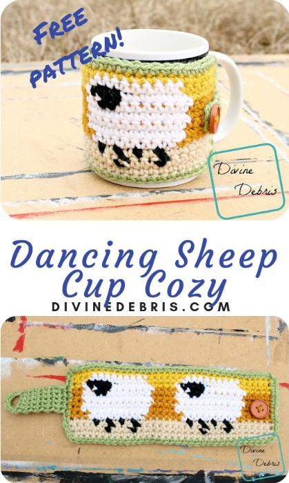 Dancing Sheep Cup Cozy free crochet pattern by DivineDebris.com