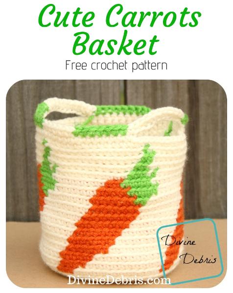 Cute Carrots Basket free crochet pattern by DivineDebris.com #crochet #freepattern #homedecor #baskets #carrots #tapestry