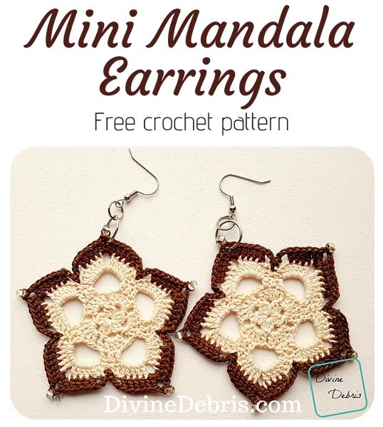Mini Mandala Earrings free crochet pattern by DivineDebris.com #crochet #freepattern #earrings #mandalas #crochetthread