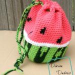 Wonderful Watermelon Drawstring Bag crochet pattern by DivineDebris.com