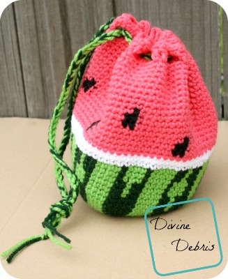 Watermelon Drawstring Bag Crochet Pattern