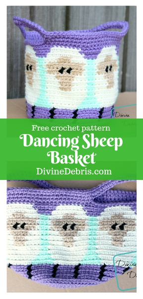 Dancing Sheep Basket free crochet pattern by DivineDebris.com #crochet #freepattern #baskets #sheep #tapestry #homedecor
