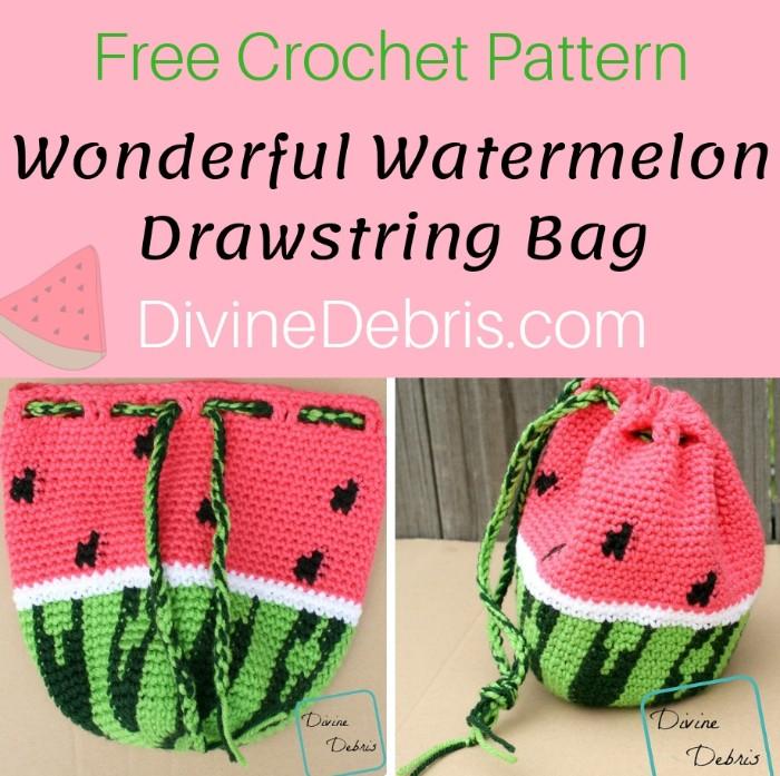 Wonderful Watermelon Drawstring Bag free crochet pattern by DivineDebris.com