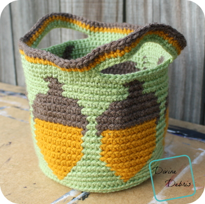 All the Acorns Basket crochet pattern by DivineDebris.com