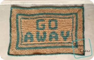 Go Away Doormat crochet pattern by DivineDebris.com