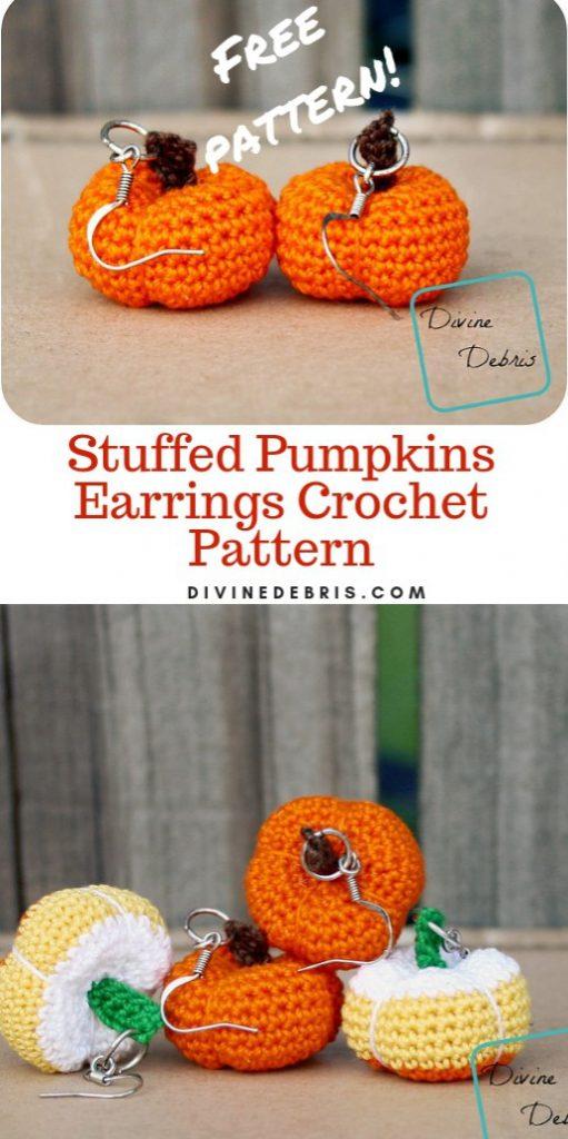 Stuffed Pumpkins Earrings Crochet Pattern