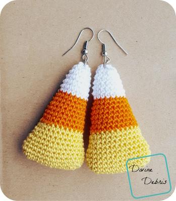 Candy Corn Earrings crochet pattern by DivineDebris.com