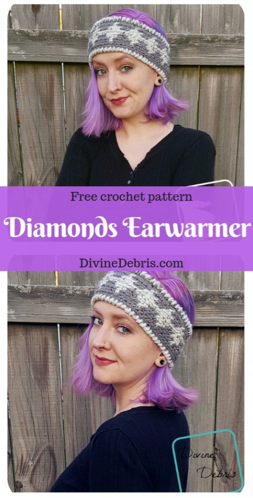 Diamonds Earwarmer crochet pattern by DivineDebris.com