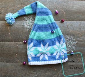 Stocking Snowflake Hat crochet pattern by DivineDebris.com