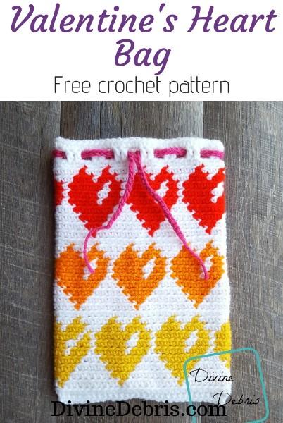 Valentine's Heart Bag free crochet pattern by DivineDebris.com