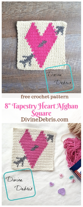 "8"" Tapestry Heart Afghan Square free crochet pattern by DivineDebris.com #crochet #freepattern #tapestry #hearts"