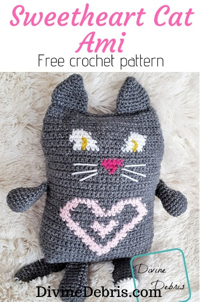 Sweetheart Cat Ami free crochet pattern by DivineDebris.com