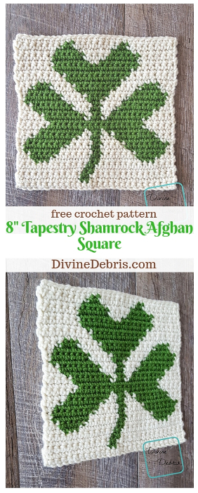 "8"" Tapestry Shamrock Afghan Square free crochet pattern by DivineDebris.com #crochet #freepattern #tapestry #shamrocks #StPatricksDay #afghansquares"