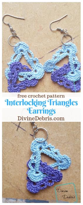 Interlocking Triangles Earrings free crochet pattern by DivineDebris.com #crochet #freepattern #earrings #crochetthread #jewelry