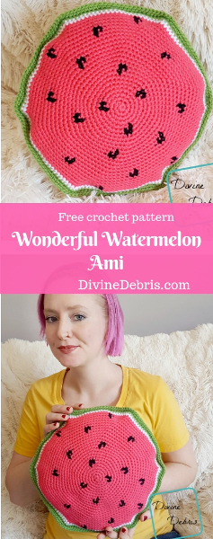 Wonderful Watermelon Ami free crochet pattern by DivineDebris.com #crochet #freepattern #watermelon #amigurumi #pillows