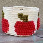 Bobble Apple Basket free crochet pattern by DivineDebris.com