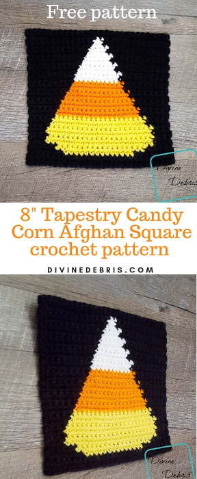 "8"" Tapestry Candy Corn Afghan Square free crochet pattern by divinedebris.com"