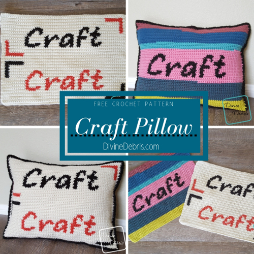 Craft Pillow free crochet pattern by DivineDebris.com