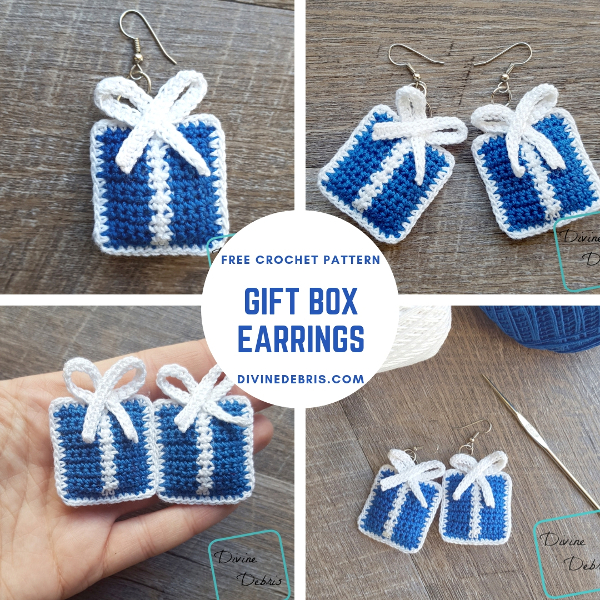 Gift Box Earrings free crochet pattern by DivineDebris.com