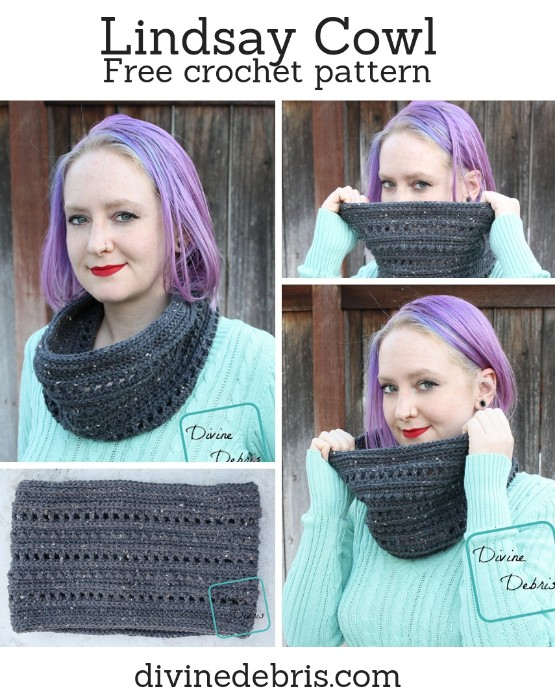 Lindsay Cowl free crochet pattern by DivineDebris.com