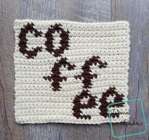 "8"" Tapestry Coffee Afghan Square free crochet pattern by DivineDebris.com"