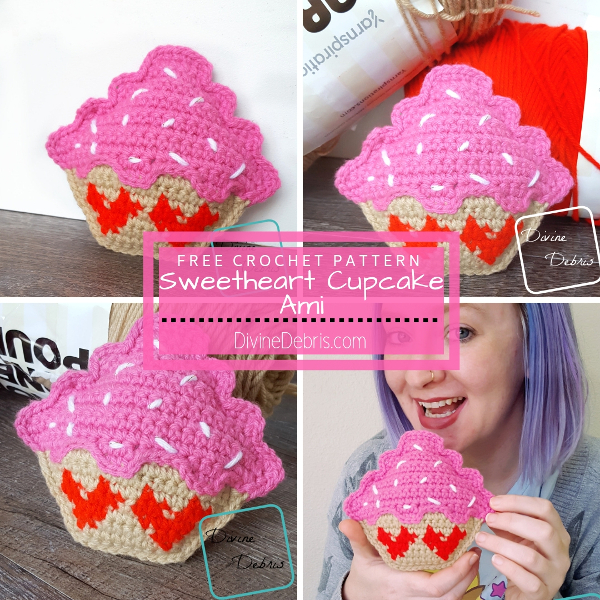 Sweetheart Cupcake Ami free crochet pattern by DivineDebris.com #crochet #freepatterns #cupcakes #amigurumi #ValentinesDay