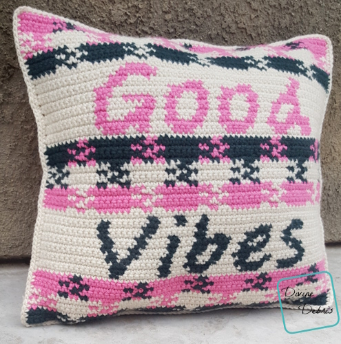 Good Vibes Pillow free crochet pattern by DivineDebris.com
