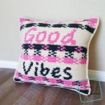 Good Vibes Pillow free crochet pattern by DivineDebris.com #crochetpattern #freecrochetpattern #crochet #pillows #tapestry