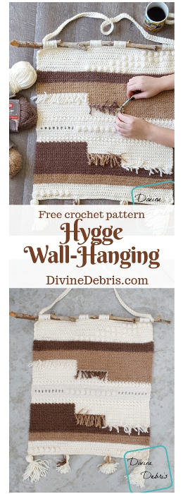 Hygge Wall Hanging free crochet pattern by DivineDebris.com #crochetpattern #freepattern #hygge #RedHeartYarns #homedecor #wallhanging