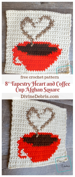 "8"" Tapestry Heart and Coffee Cup Afghan Square free crochet pattern by DivineDebris.com #crochet #freepattern #tapestry #coffee #afghansquares"