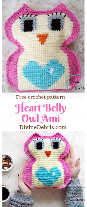 Heart Belly Owl Ami free crochet pattern by DivineDebris.com #crochet #freepattern #amigurumi #Valentine'sDay #owls